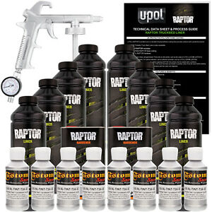 Raptor Bright Silver Urethane Spray On Truck Bed Liner Spray Gun 8 Liters