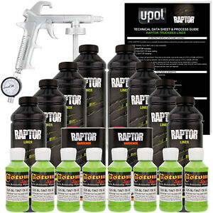 Raptor Lime Green Urethane Spray On Truck Bed Liner Spray Gun 8 Liters