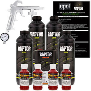 Raptor Blood Red Urethane Spray on Truck Bed Liner Spray Gun 4 Liters