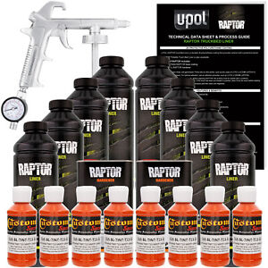Raptor Safety Orange Urethane Spray On Truck Bed Liner Spray Gun 8 Liters