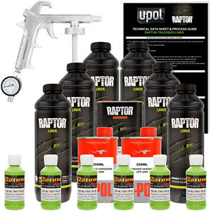 Raptor Lime Green Urethane Spray On Truck Bed Liner Spray Gun 6 Liters