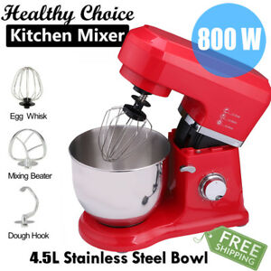 6 Speed Food Stand Mixer With 4 5l Steel Mixing Bowl Dough Hook Whisk Beater Us
