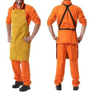 42 Pockets Leather Work Apron Heat Flame Resistant Durable Welding Apron New