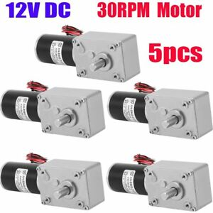 5x 12v 30rpm Dc Worm Reduction Geared Motor Ultra Low Speed Electric Motor Nw