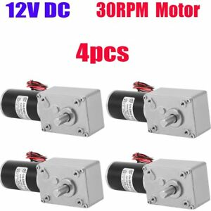 4x12v 30rpm Worm Turbo Gear Motor Right Angle Gear Dc Motor Metal High Torque Kp