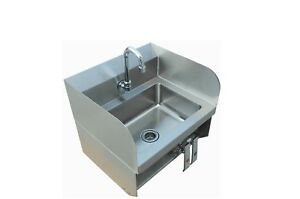 Stainless Steel Wall Mount Hand Sink Side Splash With Knee Pedals
