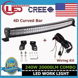 4d Curved 42inch 240w Led Light Bar Off Road Suv Boat Ford Wiring Kit 40 43