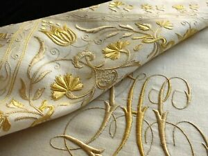 Gold Flowers Monogram C1900 Antique Embroidery Tablecloth Napkins