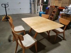 Heywood Wakefield Mid Century Wishbone Drop Leaf Dining Table Chairs Server