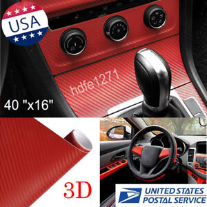 3d Car tablet Red Interior Accessories Panel Carbon Fiber Vinyl Wrap Sticker 100