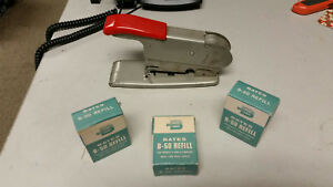 Vintage Bates Wire Feed Stapler From The 30 s 40 s W 3 Nos Wire Staple Refills