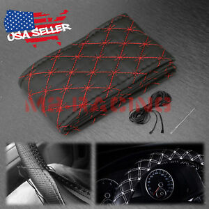 Black Red Cross Pvc Leather Diy Car Steering Wheel Cover With Needles And Thread