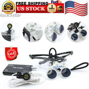 Binocular Medical Surgical Magnifier 2 5x 420mm Dental Loupes led Head Lamp Sale