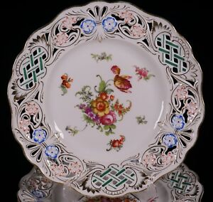 12 German Beyer And Bock Hand Painted Reticulated Pierced Floral Dessert Plates