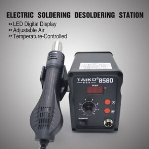 2in1 858d Digital Soldering Iron Station Desoldering Air Gun Smd Rework Led Zh