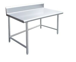 Commercial Stainless Steel Work Table 24 X 24 Crossbar 4 Backsplash Nsf