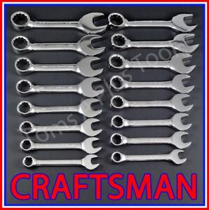 Craftsman Tools 16pc Full Polish Sae Metric Mm Stubby Combination Wrench Set