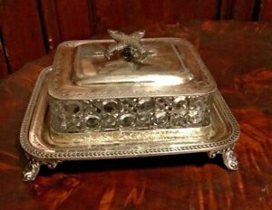 Vintage Antique Victorian Silver Plate Glass Covered Sardine Serving Dish