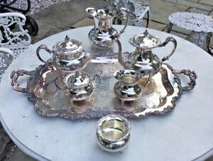Lovely Antique Victorian Community Ascot Silverplate Tea Coffee Serving Set