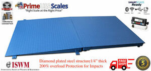 New 10 000 Lb X 2 Lb 4 x4 48 X 48 Floor Scale Pallet Scale With Ramp