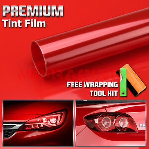 12 x360 Glossy Hot Red Color Tint Headlights Fog Lights Taillight Vinyl Film