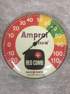 Vintage Amprol Plus Red Comb Pioneer Feeds Hales Hunter Advertising Thermometer