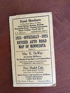 1925 Hudson S Standard Road Map Of Minnesota Auto Trails Era Folding Vintage