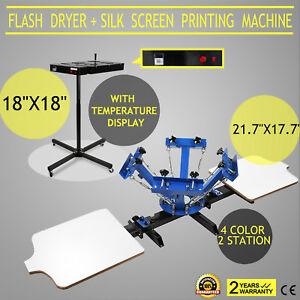 4 Color 2 Station Silk Screen Printing 18 x18 Flash Dryer Adjustable Pressing