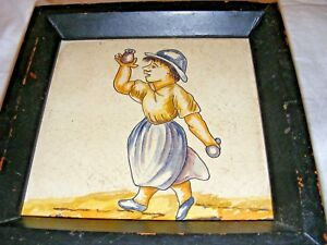 Antique French Early Delft Majolica Polychrome Wall Tile Framed Comedy Character