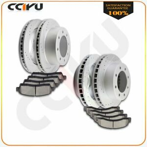 Front Rear 4 Drilled Slot Brake Rotors And Ceramic Pads For F250 F350 4wd 4x4