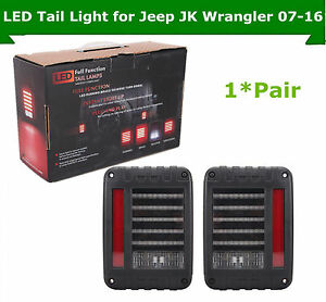 07 18 For Jeep Wrangler Jk Led Tail Lights Brake Reverse Rear Turn Signal Lamp