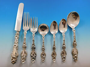 Lily By Whiting Sterling Silver Flatware Set 12 Service 90 Pcs Antique Vintage