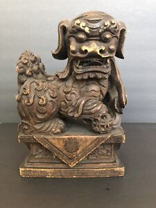 Antique Vintage Heavily Carved Attractive Chinese Foo Dog Wood Sculpture
