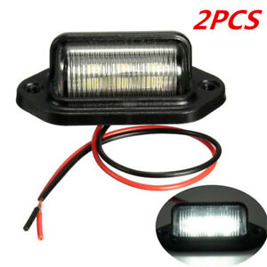 2pcs 6 Smd Led License Plate Tag Light Lamps Universal For Truck Suv Trailer Van