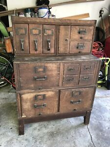 Antique Oak Yawman Erbe Stacking Card Library File Cabinet Ny Original