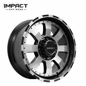 Impact 4 Pc Off Road Wheels 20x9 5x150mm 12mm Black Machine Face