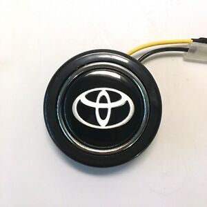 Horn Button For Momo Steering Wheel Compatible With Toyota Black W Silver Logo