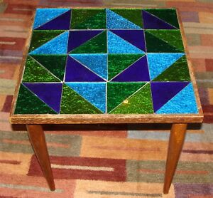 Mid Century Modern Foil Top End Table W Translucent Glass Tiles Danish Modern