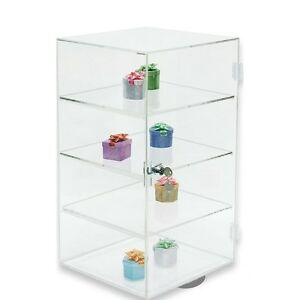 Rotating Acrylic Display Case Countertop Display Cabinet Showcase Stand19 tall