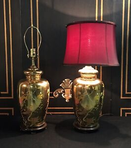 Pair Of Mid Century Chinese Gold Porcelain Lamps