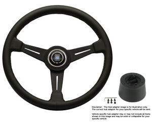 Nardi Steering Wheel 390mm Black Leather With Hub For Ford Mustang 1968 To 1971