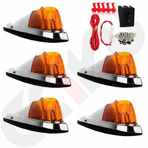 5pcs Amber Cab Marker Roof Top Clearance Light Wiring Pack For Truck Trailer