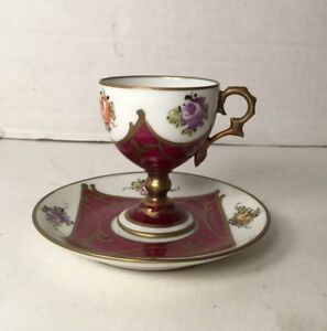 Vintage Limoges Dc Footed Demitasse Cup And Saucer Signed Hand Painted France