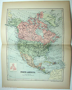 Original 1895 Map Of North America By W A K Johnston