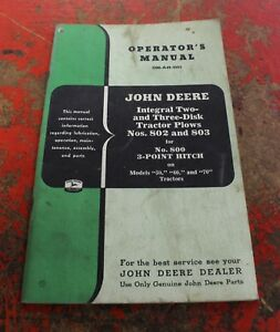 John Deere Tractor Plows 802 803 3 Point Hitch 800 Operator s Manual Om a49 1053