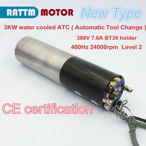 3kw Atc Water Cooled Automatic Tool Change Spindle Motor Bt30 380v For Router