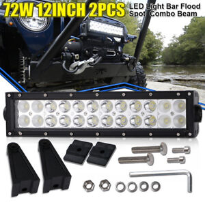12inch 72w Led Work Light Bar Flood Spot Lamp For Farm Tractor Snow Plow Yamaha