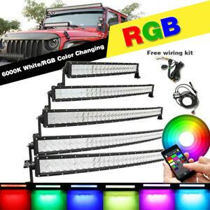 22 32 42 50 52inch Led 5d Rgb Curved Work Light Bar Offroad Wireless Bluetooth