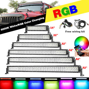 14 22 32 42 50 52 Inch Rgb Straight Led Work Light Bar Off Road Suv Truck Boat
