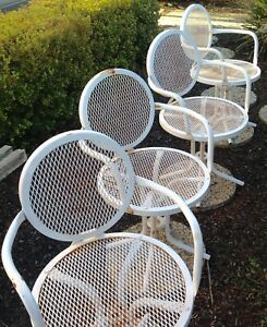 Vintage Set 4 Mid Century Modern Patio Chairs Outdoor Metal Mesh Patio Furniture